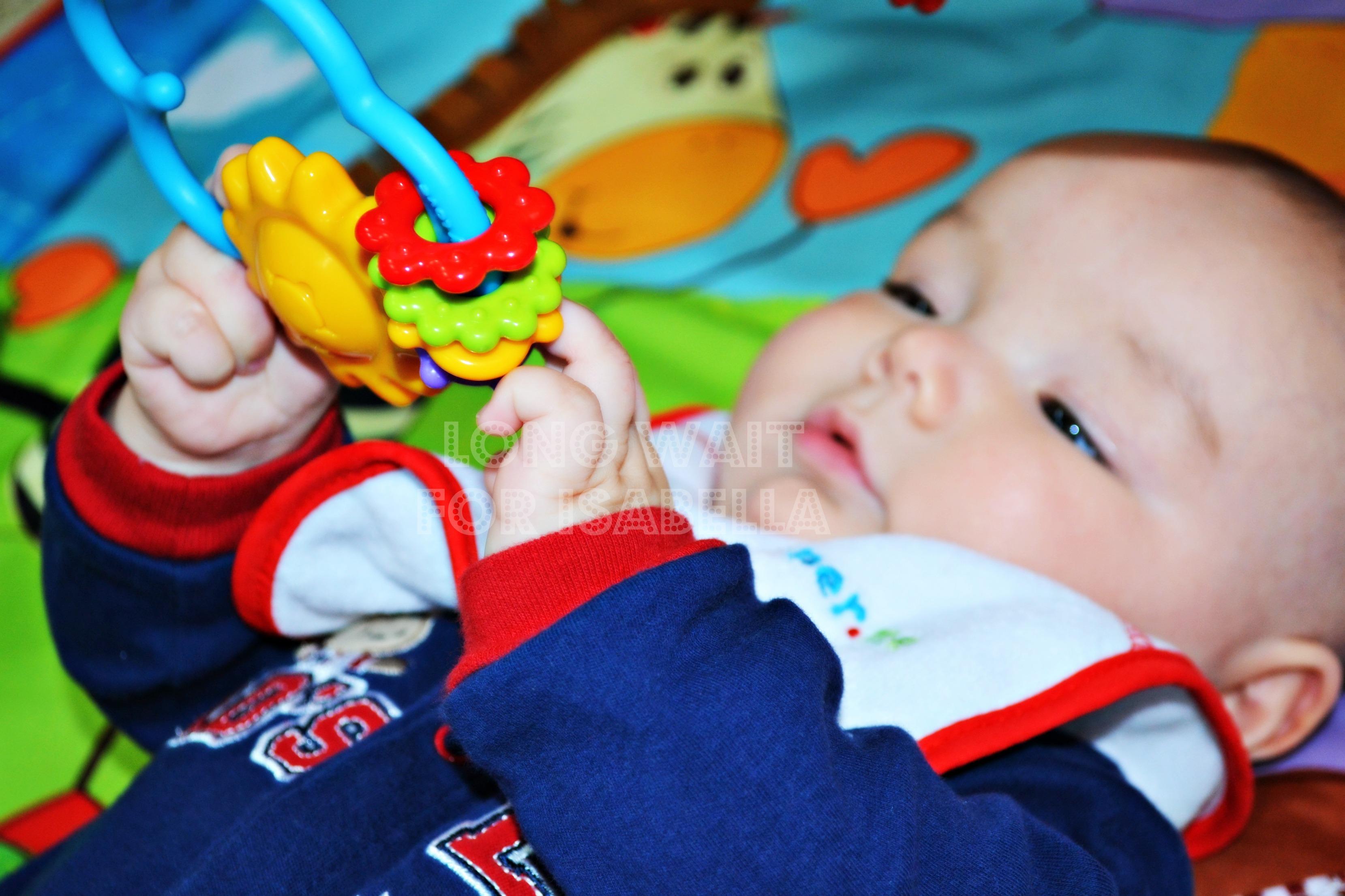 Le bébé saisit des jouets Attendez longtemps pour Isabella