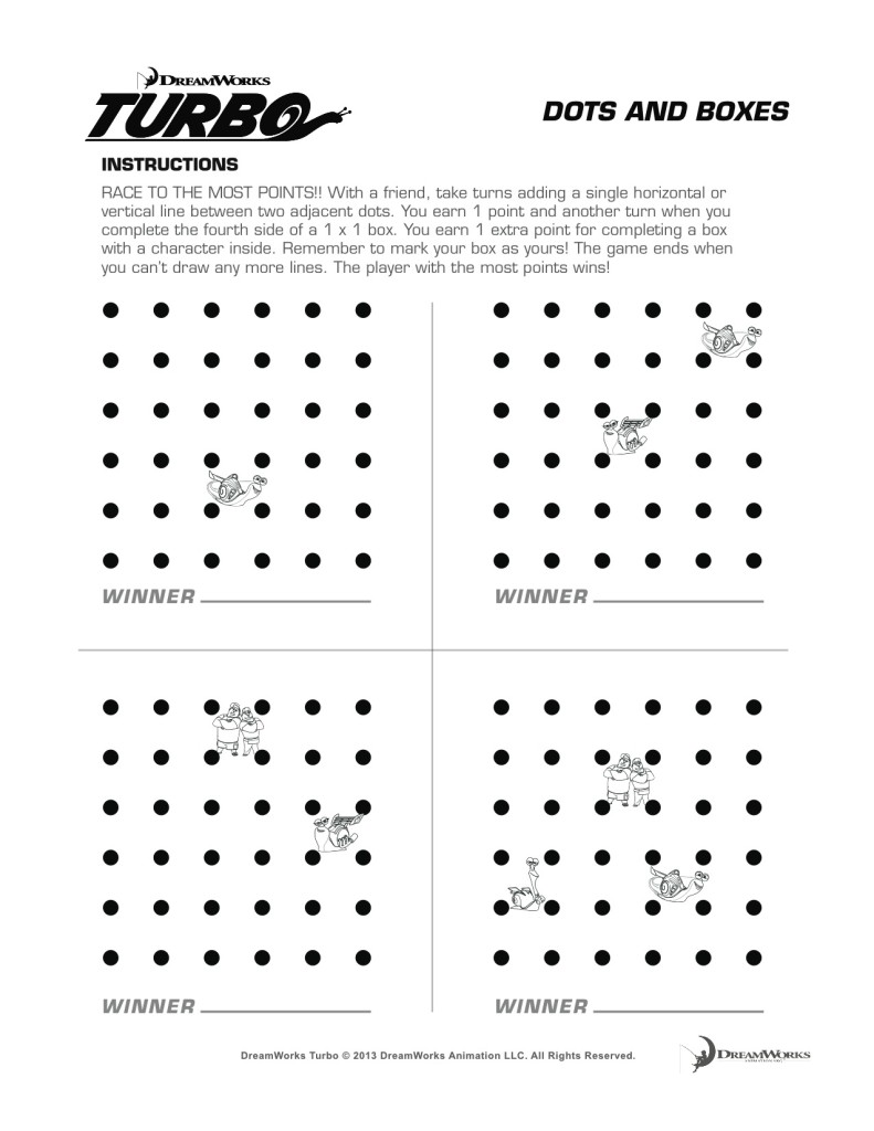 Luscious image in dots and boxes printable