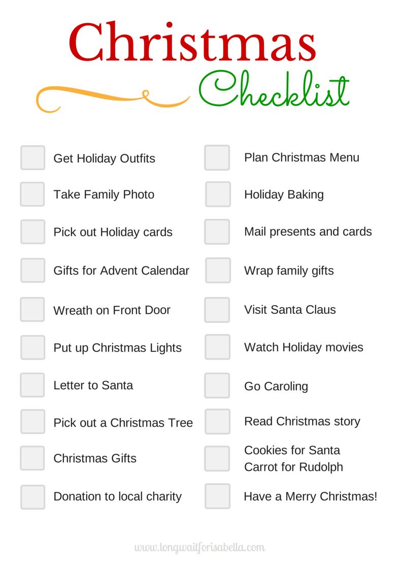 Printable Christmas Checklist - Long Wait For Isabella