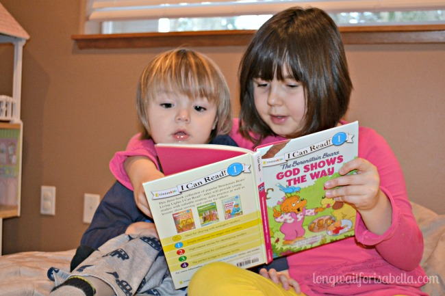 reading to her brother
