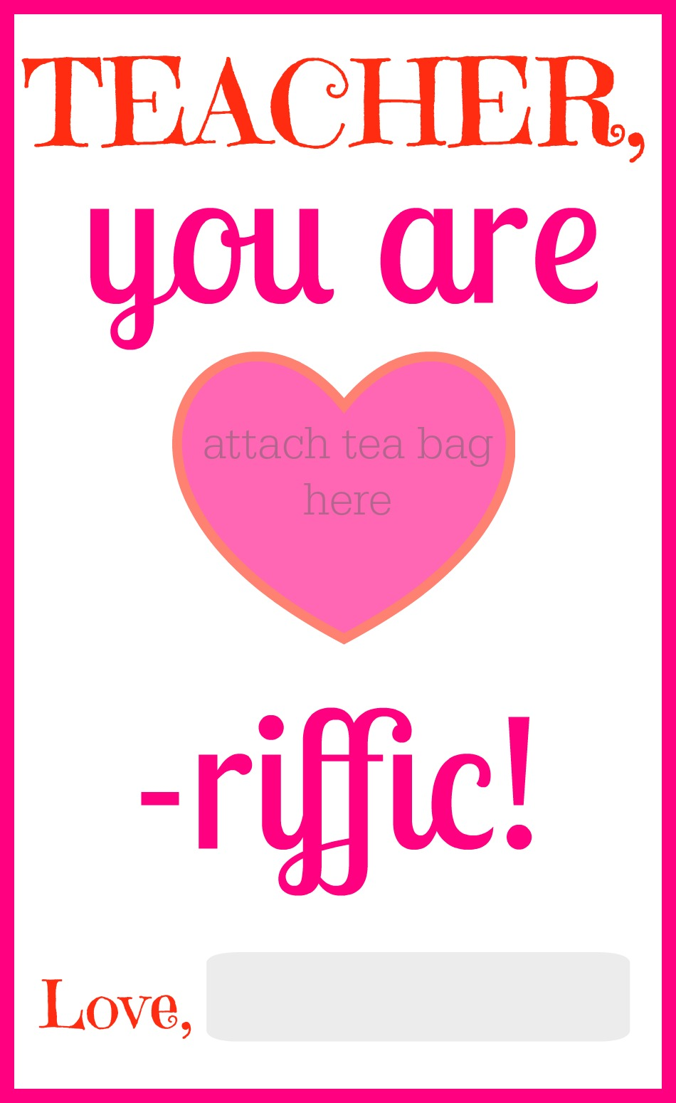 graphic regarding Printable Valentine Card for Teacher identified as A Valentine Present for Trainer
