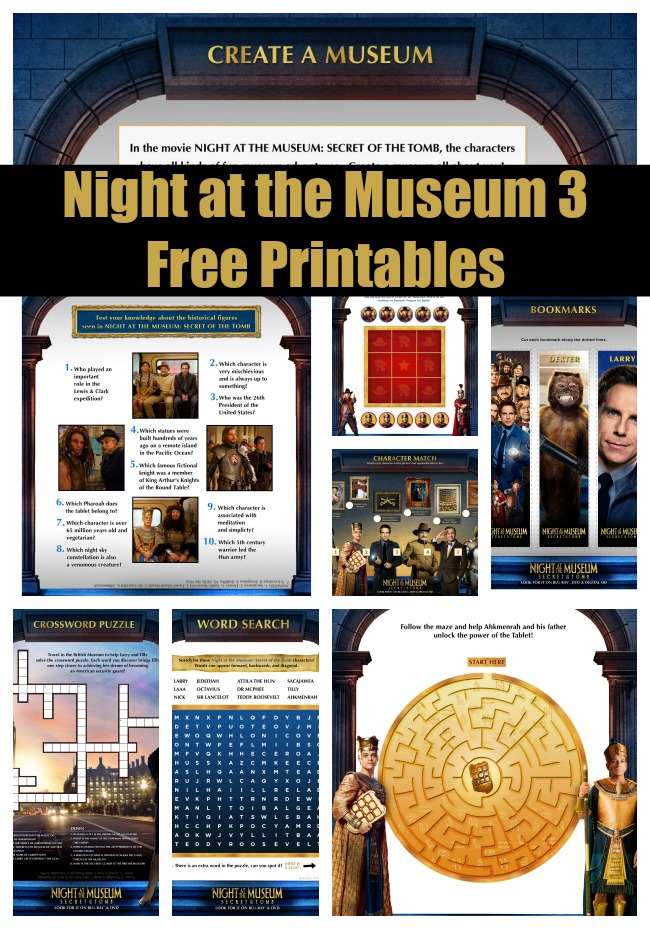 night at the museum printables