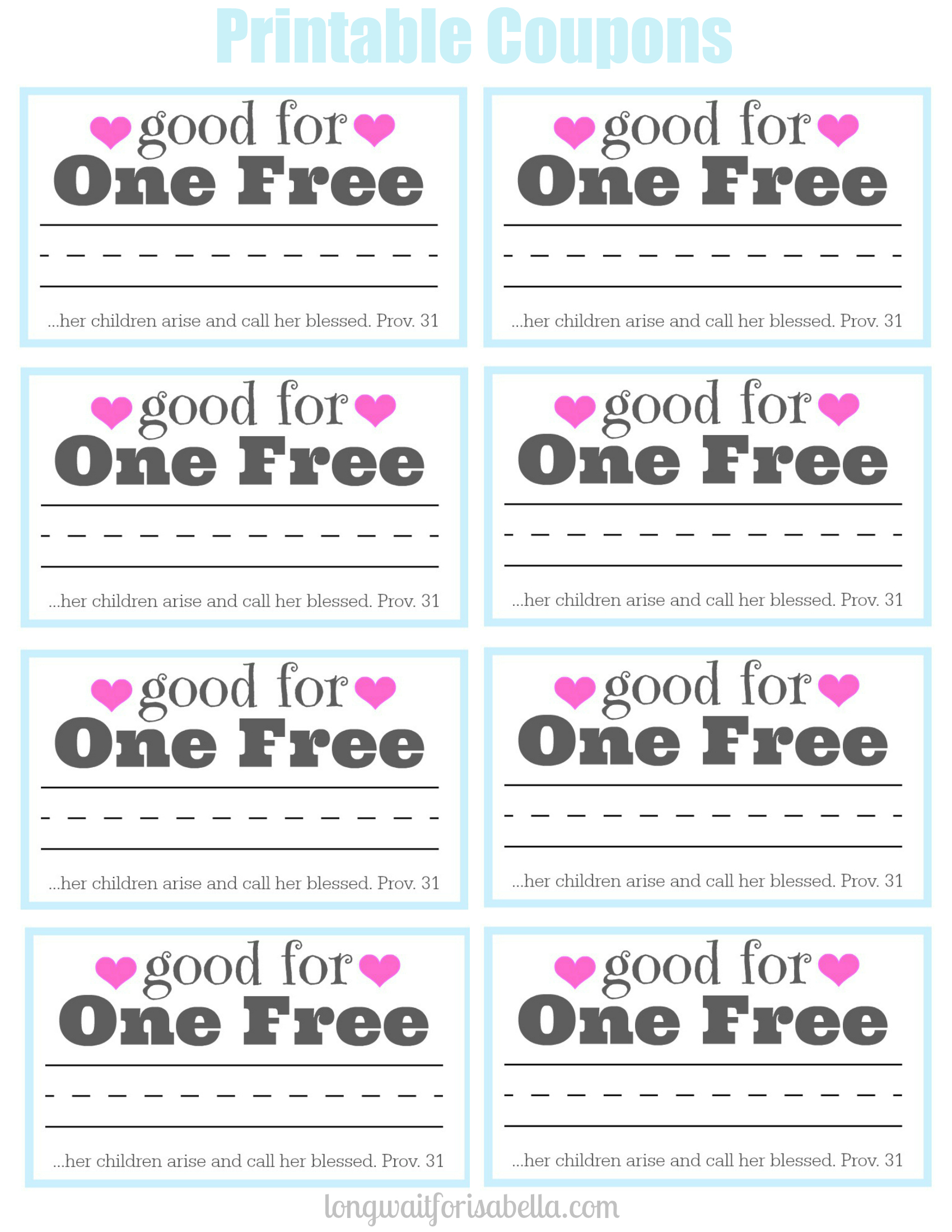 Printable Coupon Book For Mom