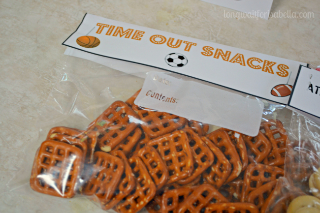 Time Out Snacks Printable Food Label