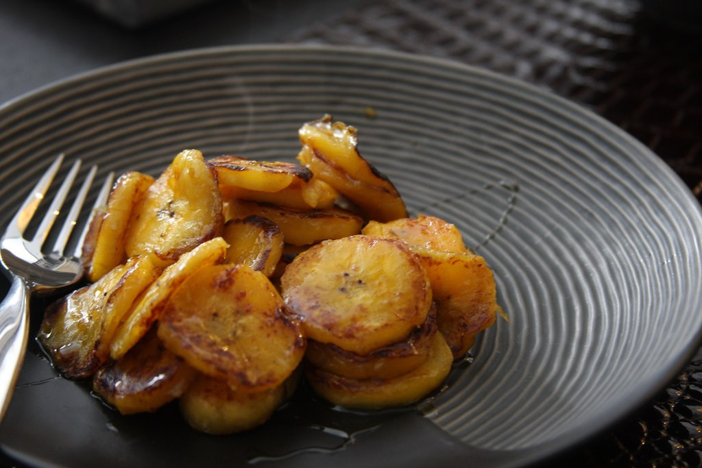 Homemade fried plantains with agave syrup glaze
