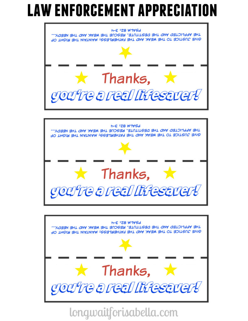 Law Enforcement Appreciation Printable