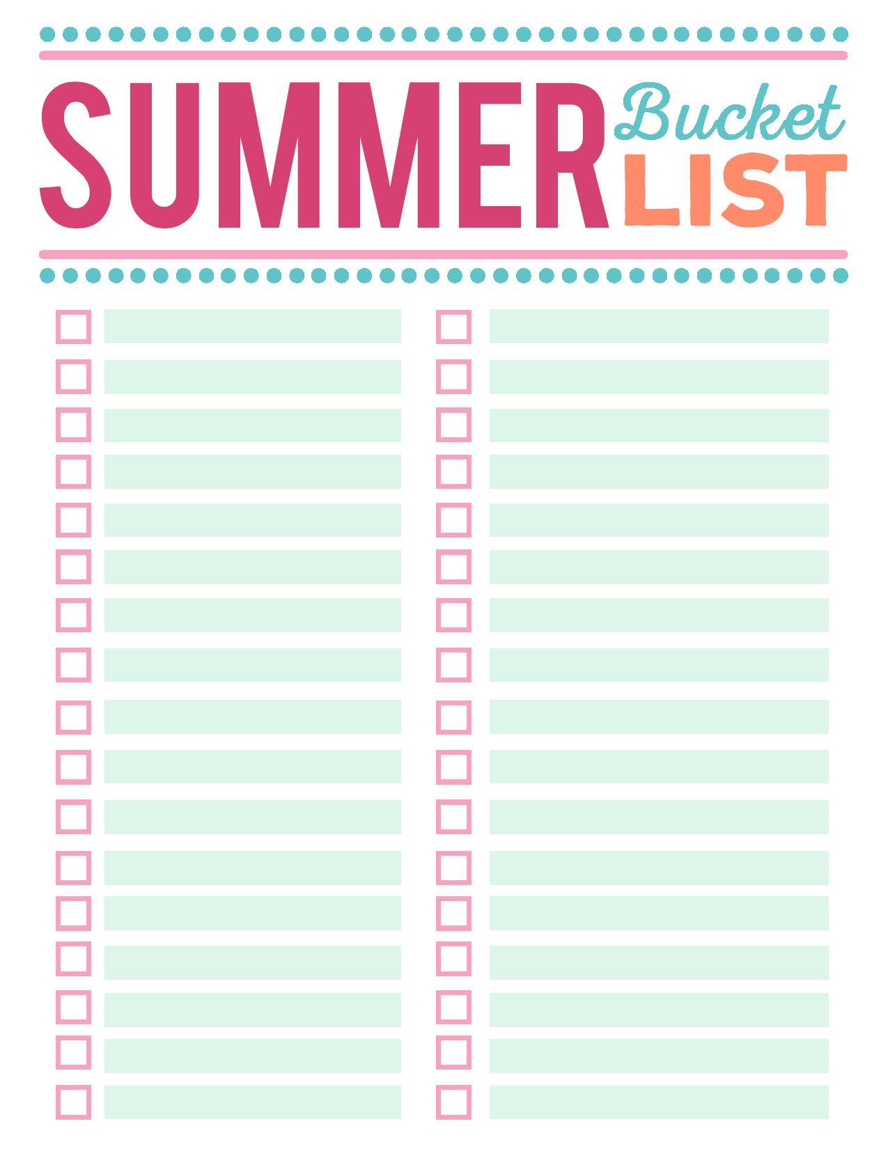 free printable bucket list template