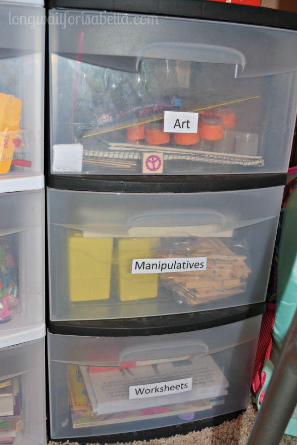 Organized Preschool Rolling Drawers