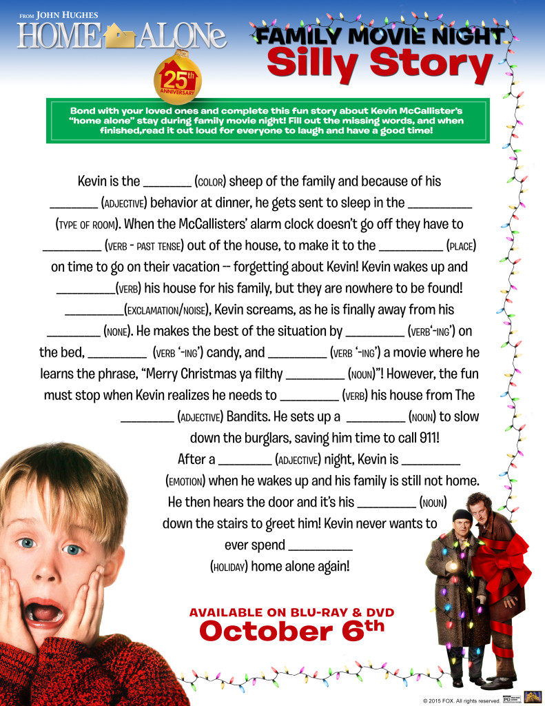 Home Alone worksheet Silly Story