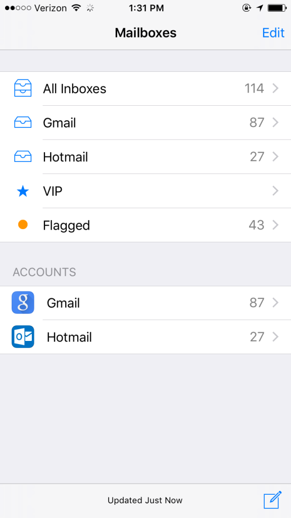 email accounts in iPhone