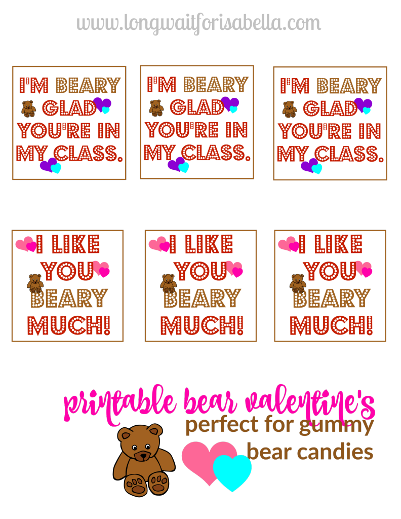 Printable Bear Valentines Cards