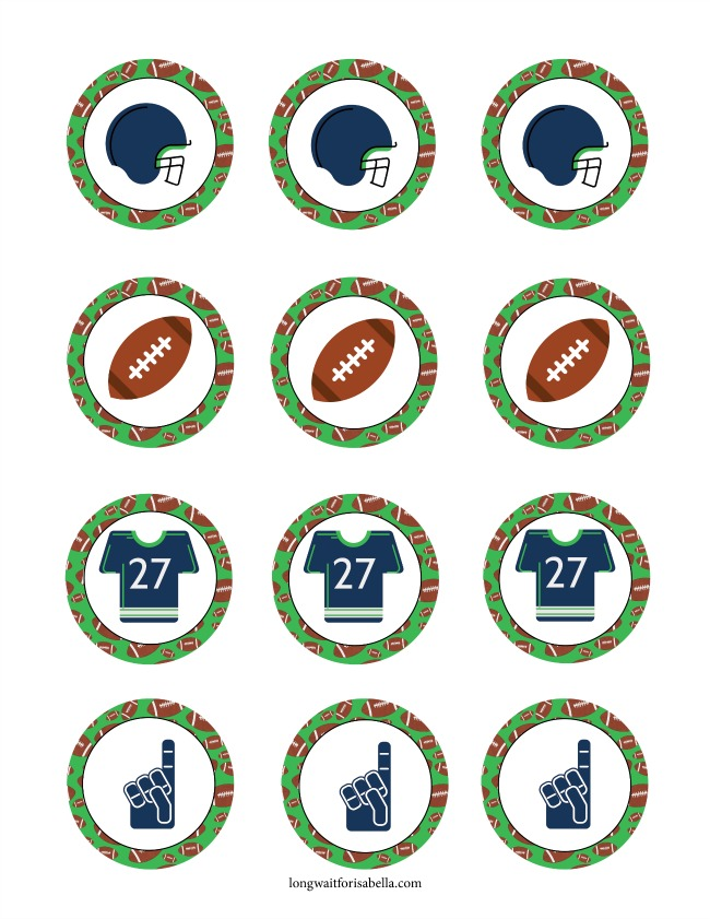 Game Day Printable Cupcake Toppers