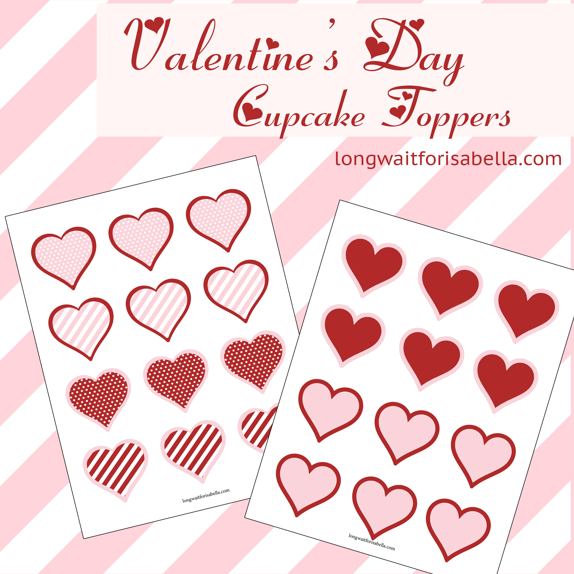 free printable valentines cupcake toppers