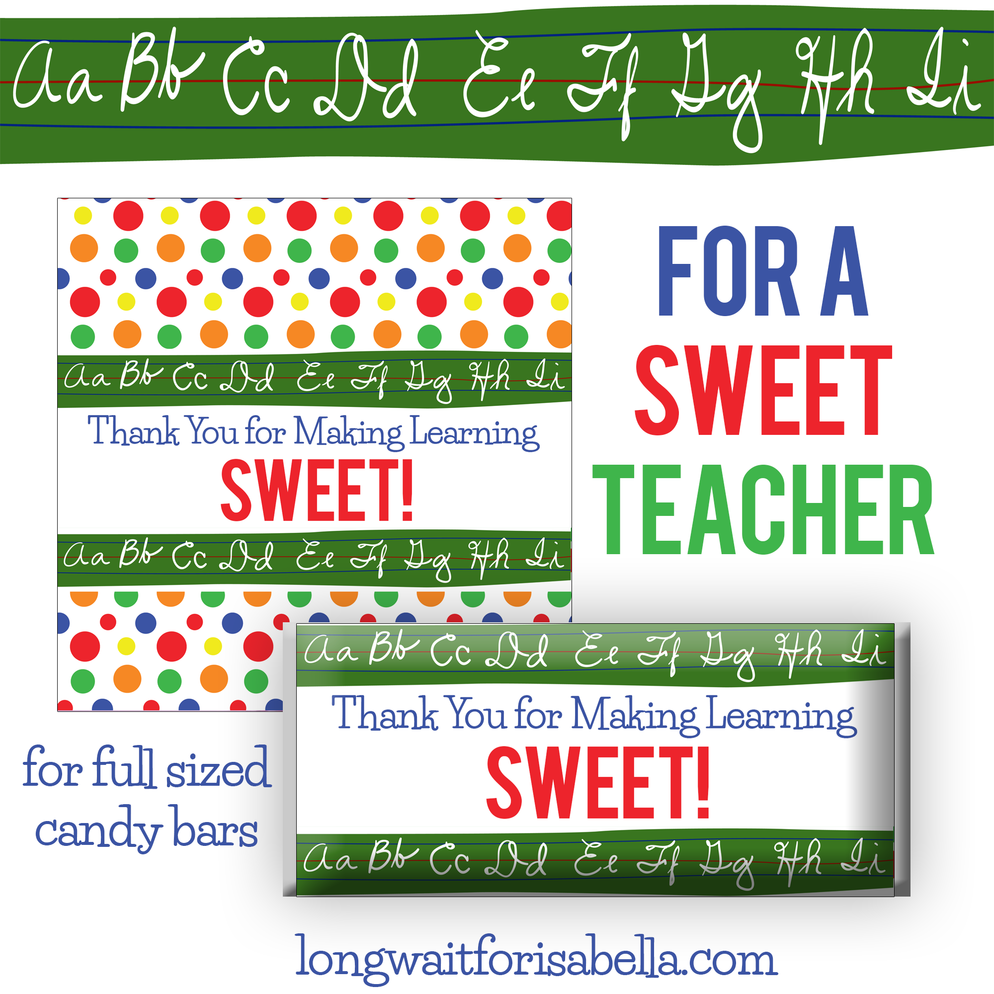 Teacher Appreciation Candy Bar Wrapper Printable