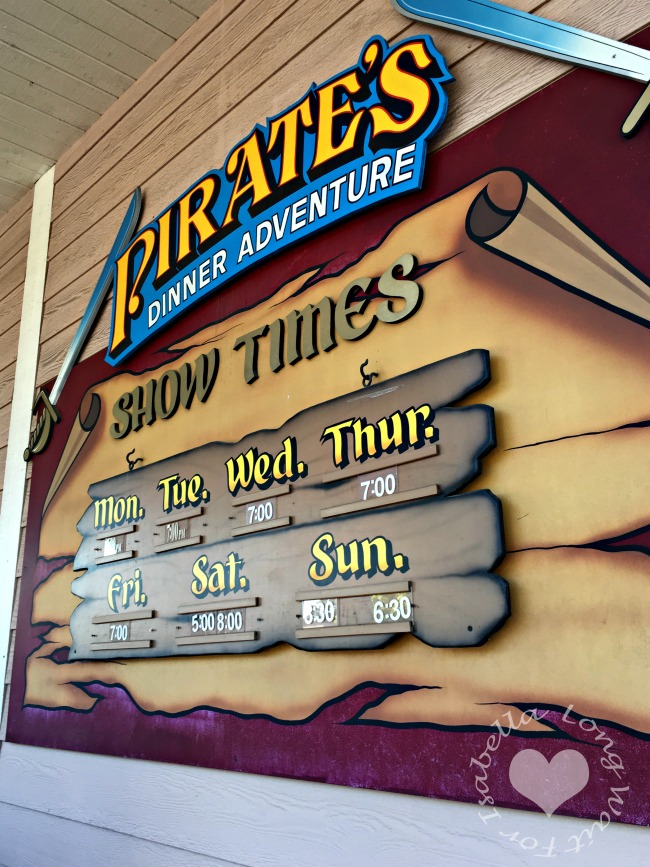 Pirates Dinner Adventure Schedule