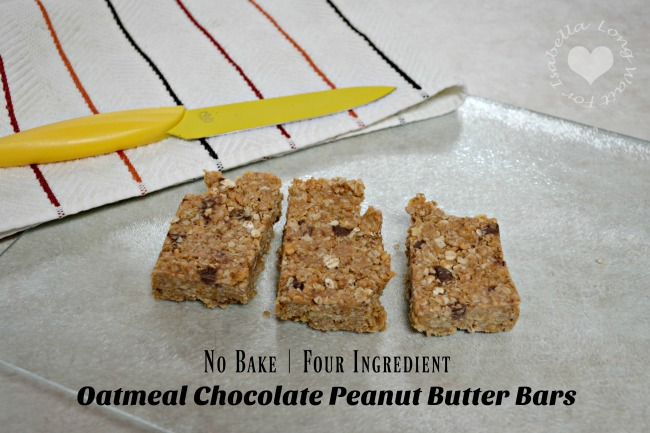 Four Ingredients! No Bake Oatmeal Chocolate Peanut Butter Bars Recipe