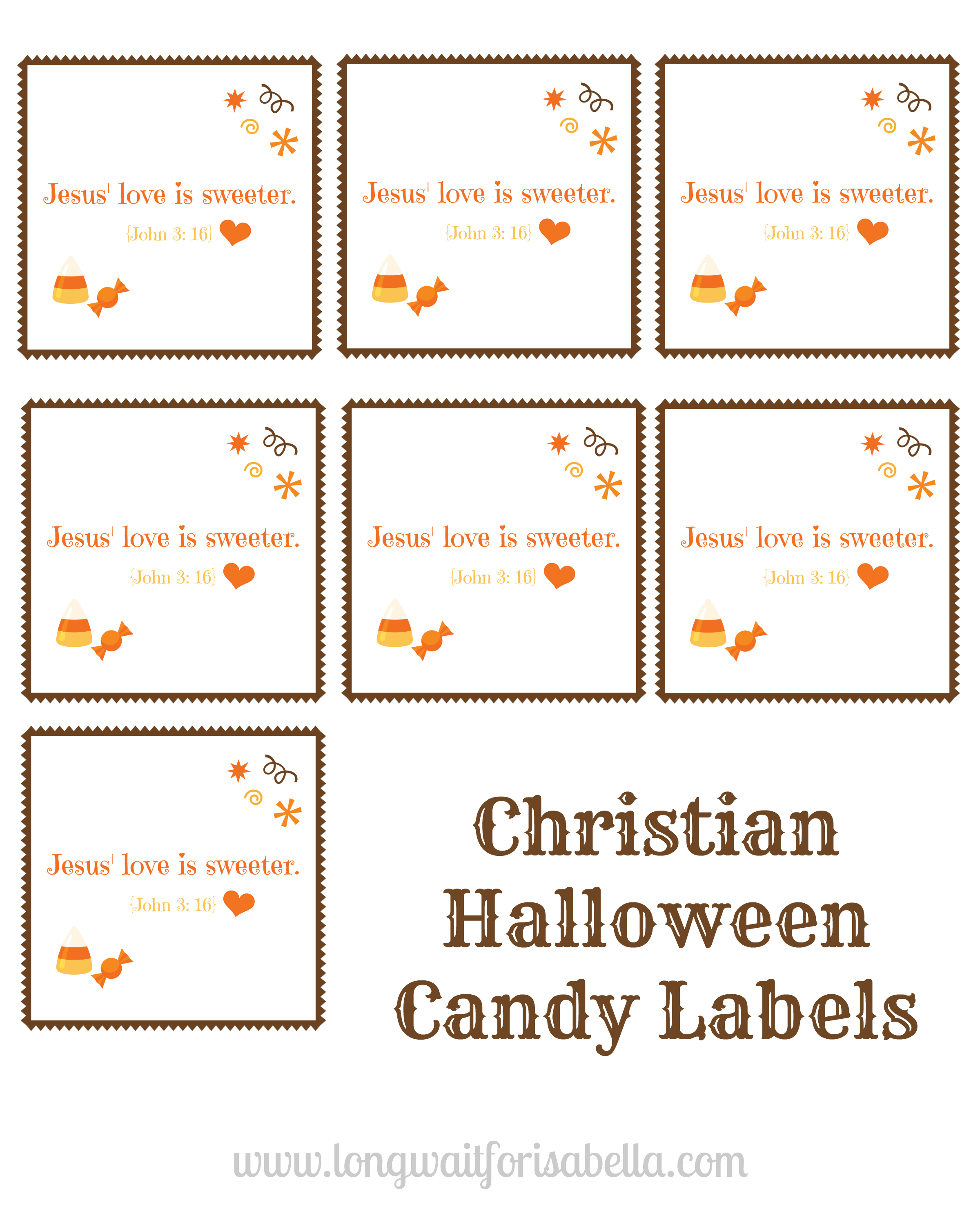 picture relating to Printable Candy Labels identify Print Out These types of Totally free Christian Halloween Sweet Labels!