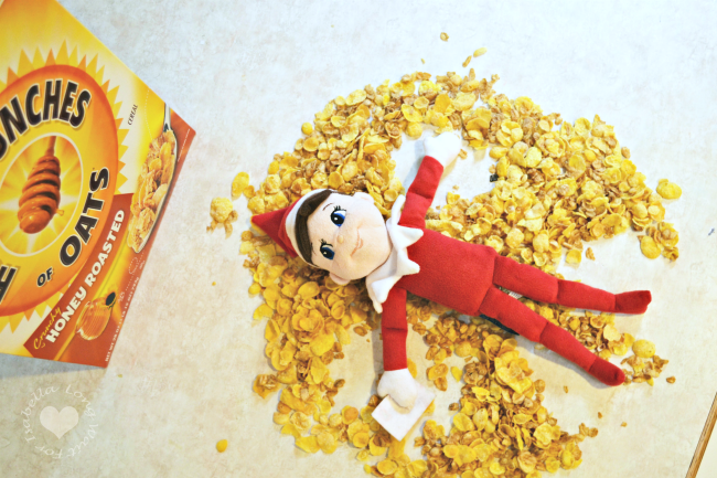 The Elf on the Shelf Cereal Angel Idea with Honey Bunches of Oats