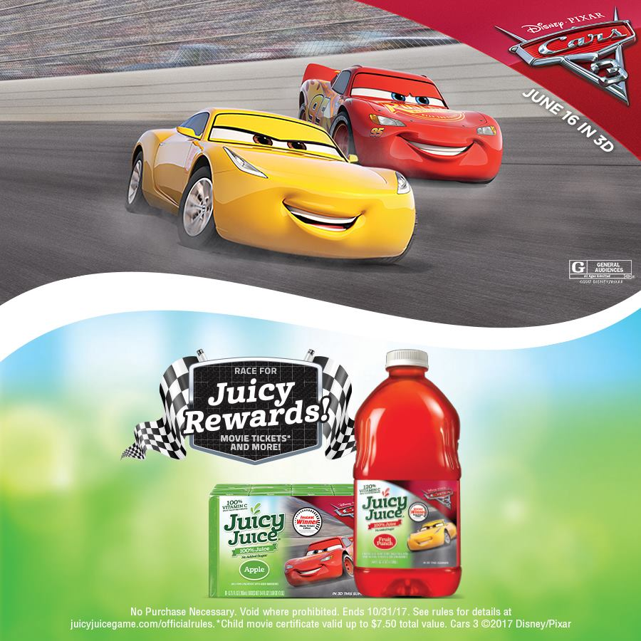 Gearing Up For Disney Cars 3 Movie With Juicy Juice