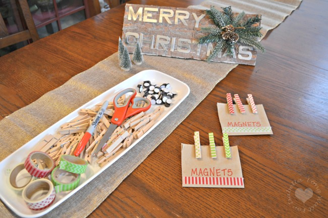 Easy Christmas Crafts Night: Washi Tape Clothespin Magnets