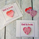 God is Love Valentines Day Gift: Wooden Heart Magnets