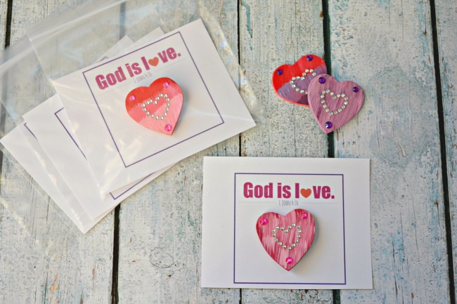 God Is Love Valentines Day Gift Wooden Heart Magnets