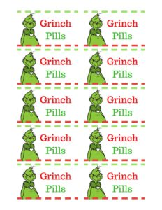 This is a photo of Persnickety Grinch Pills Printable