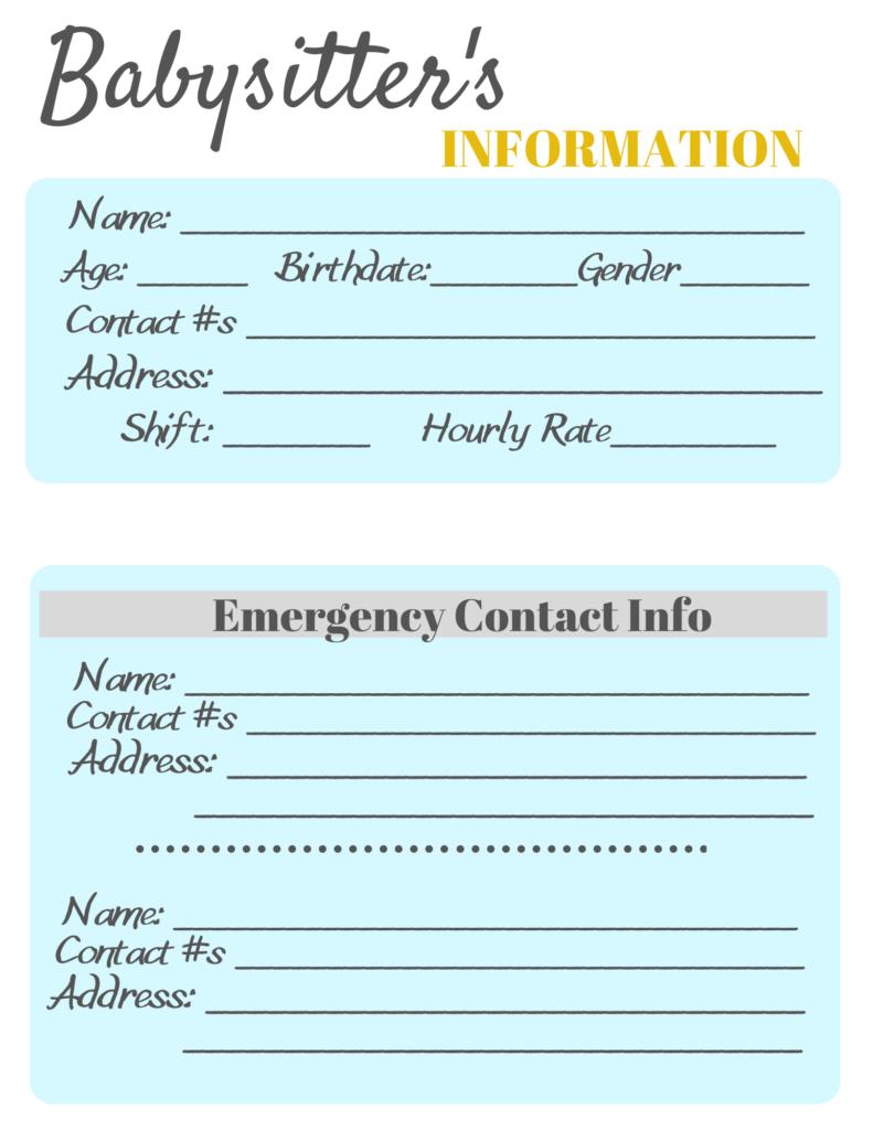 Babysitter Information Sheets